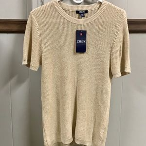 CHAPS GOLD SHORT SLEEVE SWEATER